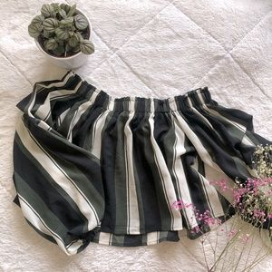 Off-Shoulder Cropped Striped Blouse